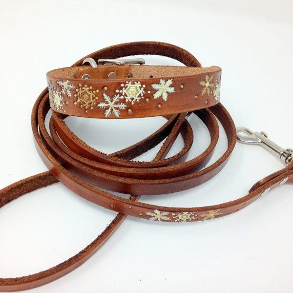 Christmas Dog Collars - Gold, Cream Snowflake Collar