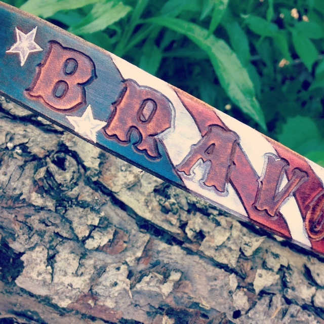 Stars and Stripes Leather Dog Collar
